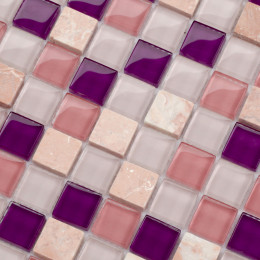 Glass and Stone Mosaic Purple Pink White Square Tile Crystal Kitchen Backsplash Fireplace Wall Tiles
