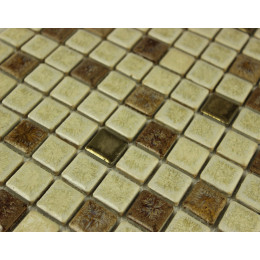 Beige and Brown Porcelain Tile Mosaic Glazed Ceramic Wall and Floor Tile Kitchen Backsplash