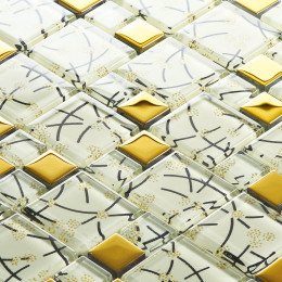 "Glossy White Tile 1"" x 2"" Gold Glass Mosaic for Kitchen Backsplashes, Bathroom Showers, Accent Walls"