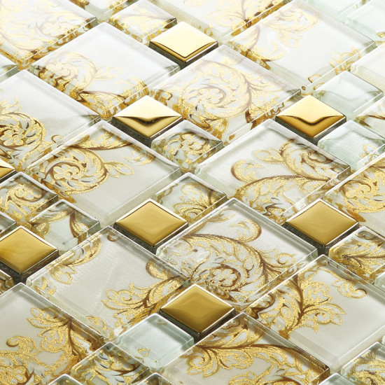 """Gold Coated Glass Tile Backsplash White Crystal Mosaic with Plant Patterns 1"""" x 2"""" Glossy Kitchen Tiles"""