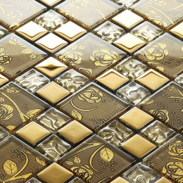 "Gold Coated Glass Tile Backsplash Brown Crystal Mosaic with Plant Patterns 1"" x 2"" Glossy Kitchen Tiles"