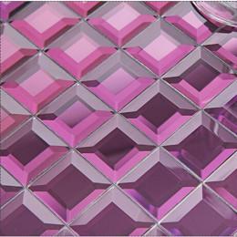 Purple Mirror Glass Backsplash Modern 3d Crystal Tile Bathroom Mirrored Wall Tiles 5 Side Pyramid Designs