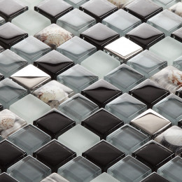 Black & Blue Gray Glass Mosaic Resin Conch Tile Silver Coated Crystal Backsplash Bathromm Wall Tiles