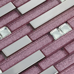 Silver Stainless Steel Tile Purple Glass Backsplash Tiles Crystal Rhinestone Mosaic Metallic Tile