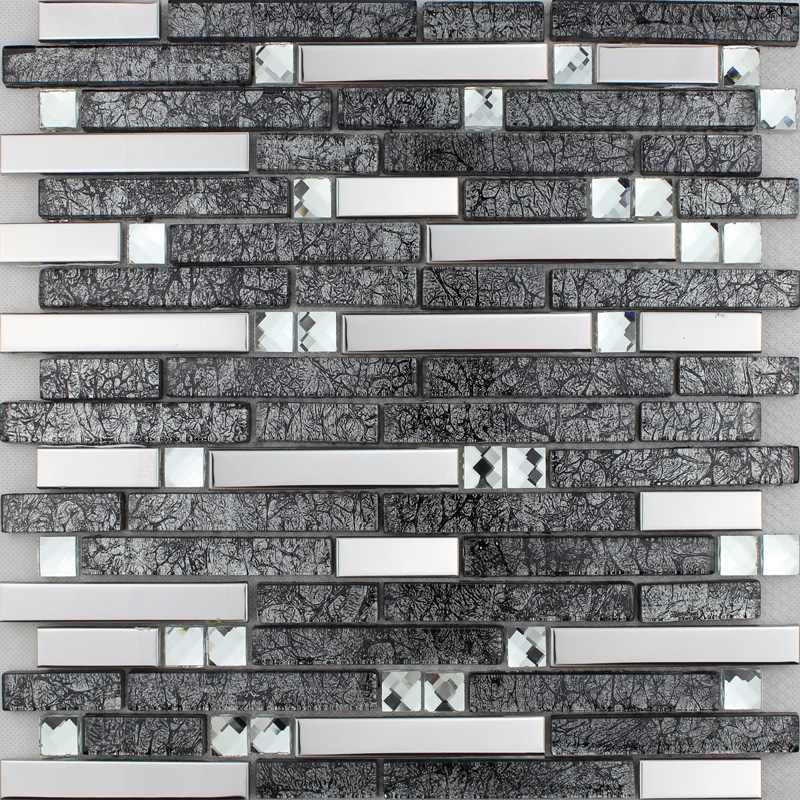 Silver Stainless Steel Metal Tile Black Glass Backsplash Fifyh