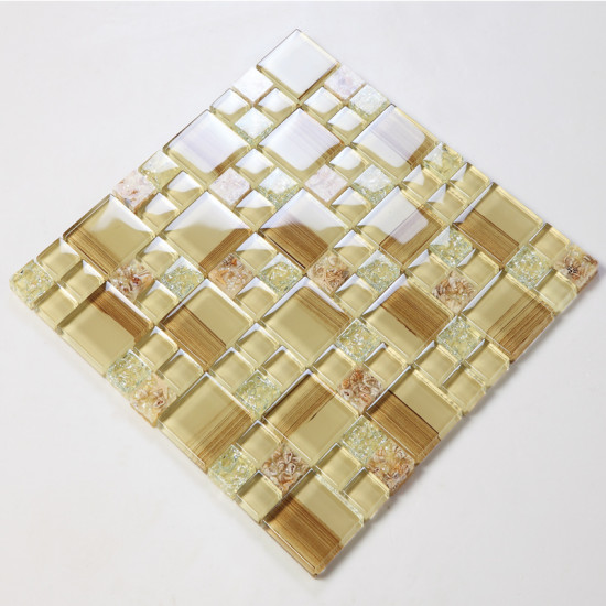 Beige Cracked Glass Mosaic Resin Conch Tile Backsplash Hand-Painted Crystal Bathroom Wall Tiles