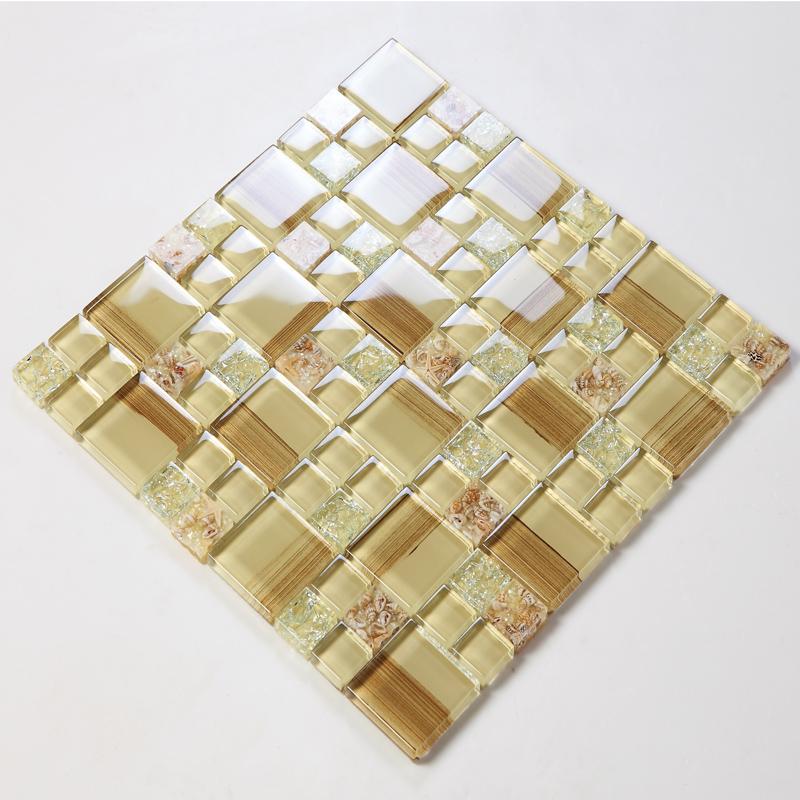 Diamond Crackled Finish Glass Multi Color Mosaic Tile Backsplash Wall