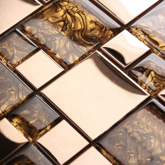 Gold Stainless Steel Metal Tile Crystal Glass Mosaic Wall Backsplash Tiles Bathroom Metallic Tile