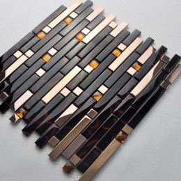 Gold Stainless Steel Tile Black Crystal Glass Backsplash Metallic Tiles Rhinestone Mosaic Bathrooms
