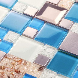 Blue and White Glass Mosaic Resin Conch Tile Silver Stainless Steel Backsplash Cracked Crystal Bathroom Tiles