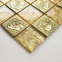 Gold Stainless Steel Tile Big Glass Mosaic Brick Metal Backsplash Tiles 3d Flower Patterns