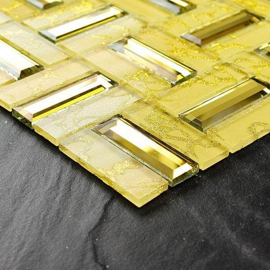 Luxury Gold Bathroom Tile Crystal Backsplash Beveled Mirror Glass Accent Wall Tiles