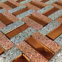 Silver and Tea Mirror Glass Backsplash Tile Mirrored Crystal Kitchen Wall Tiles Rectangle Grid Patterns