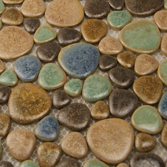 Brown and Blue Porcelain Pebble Tile Heart-shaped Glazed Ceramic Mosaic Bath Floor Tiles