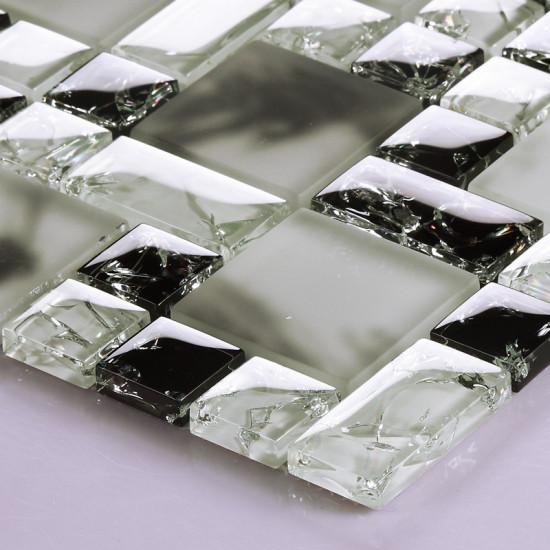 Black and White Glass Tile Inner Cracked Crystal Backsplash Frosted Glass Bathroom Wall Tiles
