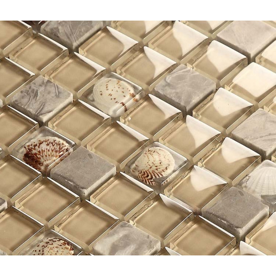 Gray Stone Mosaic Brown Glass Backsplash Tiles Resin Shell Bathroom Wall Tiles Beach Kitchen Tile
