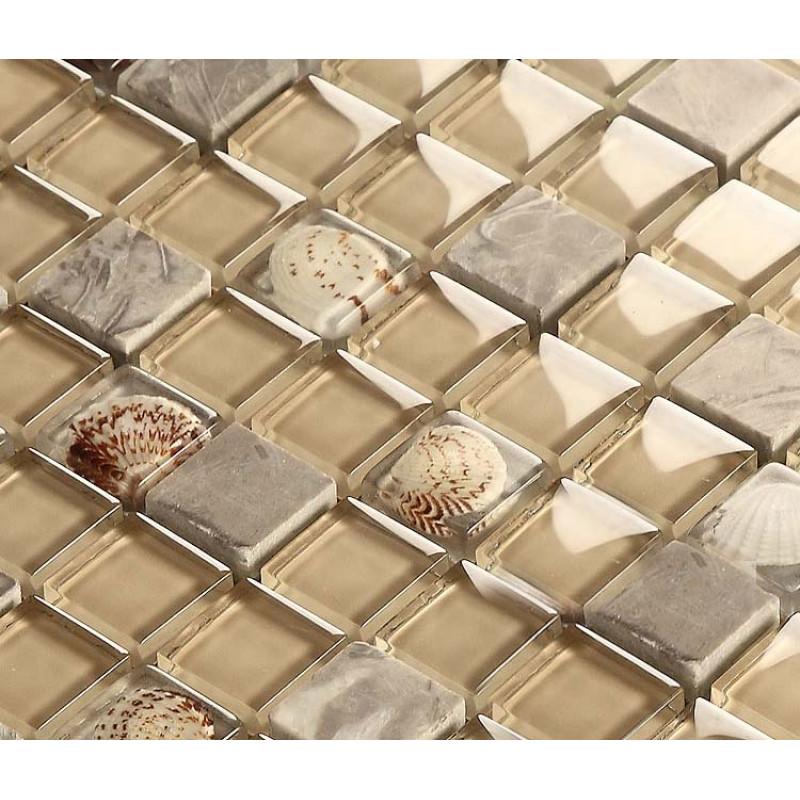 Gray Stone Mosaic Brown Gl Backsplash Tiles Resin Shell Bathroom Wall Beach Kitchen Tile