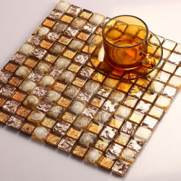 Rose Gold Crystal Backsplash Golden Glass Mosaic Resin Natural Shell Tiles Stunning Bathroom Wall & Floor Tile