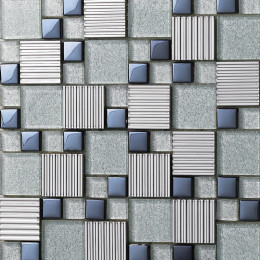 Silver Stainless Steel Tile Dark Blue Glass Mosaic 3d Sidewalk Metallic Backsplash Tiles Bathroom Walls