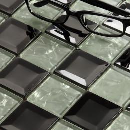 Silver and White Glass Mosaic Beleved Square Tiles Backsplash Crackled Crystal Bathroom Wall & Floor Tile