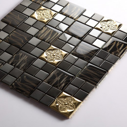 Gold Stainless Steel Tile Black Glass Mosaic 3d Petal Metallic Backsplash Tiles Bathroom Walls