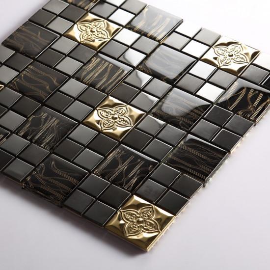 Gold Stainless Steel Tile Black Glass Mosaic 3d Petal Metallic Backsplash Tiles Bathroom Walls