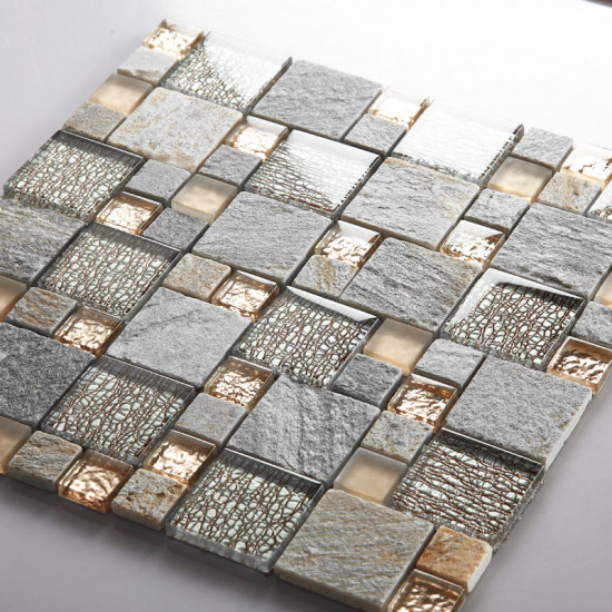 Gray Stone & Rose Gold Glass Tiles French Pattern Crystal Backsplash for Kitchen and Bathroom