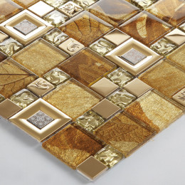 Gold Stainless Steel Tile Brown Glass Mosaic Backsplash 3D Leaf Patterns Kitchen and Bathroom Tiles