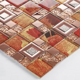 Rose Gold Stainless Steel Tile Red Glass Mosaic Backsplash 3D Leaf Patterns Kitchen and Bathroom Tiles