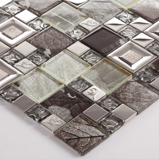 Silver Stainless Steel Tile Brown Glass Mosaic Backsplash 3D Leaf Patterns Kitchen and Bathroom Tiles