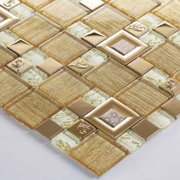 Gold Glass and Stainless Steel Blend Mosaic Tile Metal Backsplash Kitchen and Bathroom Tiles