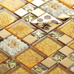 Gold Glass and Stainless Steel Blend Mosaic Tile Metal Backsplash Circle Patterns Ceramic Flower Design