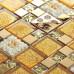 Gold Glass and Stainless Steel Blend Mosaic Tile Metal Backsplash Circle Patterns Ceramic Flower Design