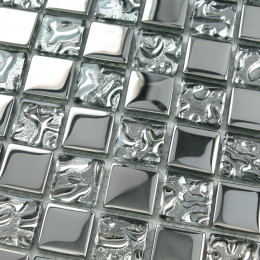 Crystal Glass Silver Mosaic Tile Kitchen Backsplash Small Wall Tiles Bathroom Shower Accent Tile
