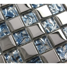 Clear Blue Crystal Square Backsplash Tile Silver Coated Glass Mosaic Bathroom Wall and Floor Tiles