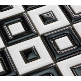 Black and White Ceramic Mosaic Floor Tile Bathroom Shower Wall Porcelain Tiles 2 x 2 In. Window Patterns