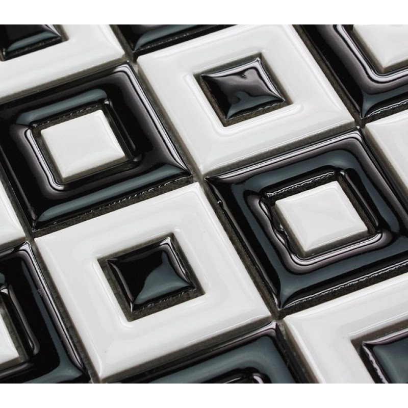 Black And White Ceramic Mosaic Floor