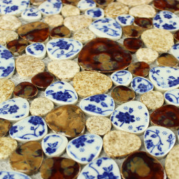 Blue / White / Beige / Brown Porcelain Pebble Tile Glossy Ceramic Mosaic Floor Bathroom Tiles