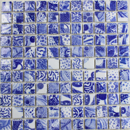 Blue and White Porcelain Tile Mosaic Glossy Ceramic Wall and Floor Tile Kitchen Backsplash