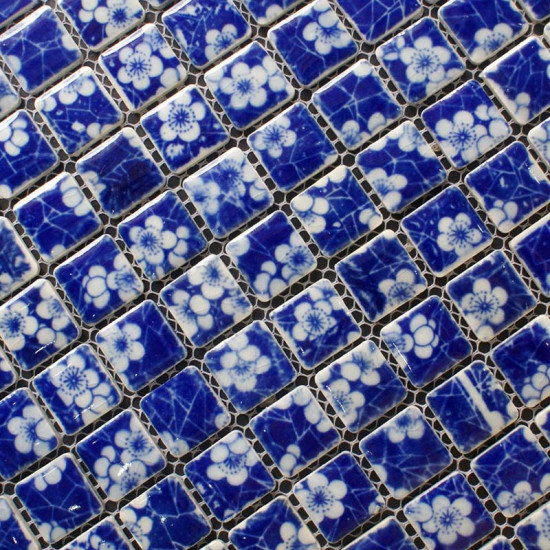 Blue and White Porcelain Mosaic Backsplash Glossy Ceramic Wall and Floor Tile Bathroom Tiles