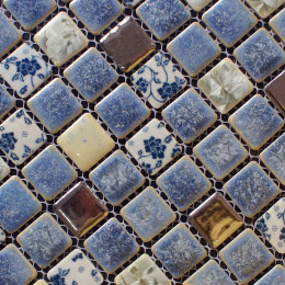 Blue and White Tile Gold Coated Ceramic Porcelain Mosaic Backsplash Kitchen and Bathroom Wall Tiles