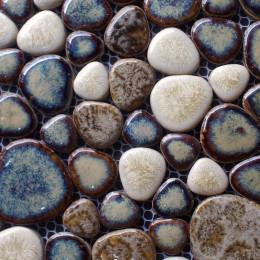 White / Brown / Blue Porcelain Pebble Tile Heart-shaped Ceramic Mosaic Backsplash Bathroom Tiles