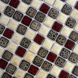 Red / White / Brown Porcelain Multi Colored Tile Backsplash Glazed Ceramic Mosaic Floor and Wall Tiles