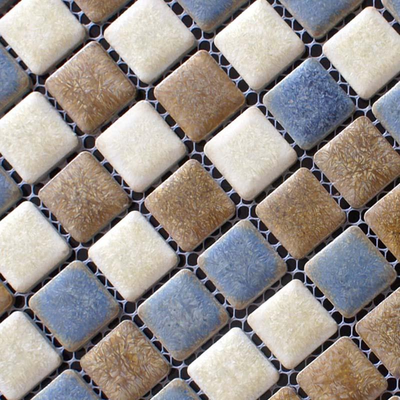 Blue White Brown Porcelain Tile Bathroom Mosaic Glazed Ceramic Wall And Floor Kitchen Backsplash