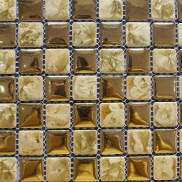 Gold Porcelain Mosaic Floor Tile Glazed Ceramic Wall Tiles Backsplash for Living Room Kitchen and Bathroom