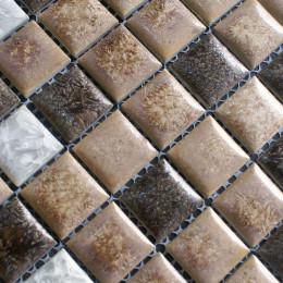White and Brown Porcelain Tile Bathroom Mosaic Glazed Ceramic Wall and Floor Tile Kitchen Backsplash