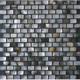 Black Shell Subway Tile White Iridescent Seashell Mosaic Deep-Water Mother of Pearl Backsplash Tiles