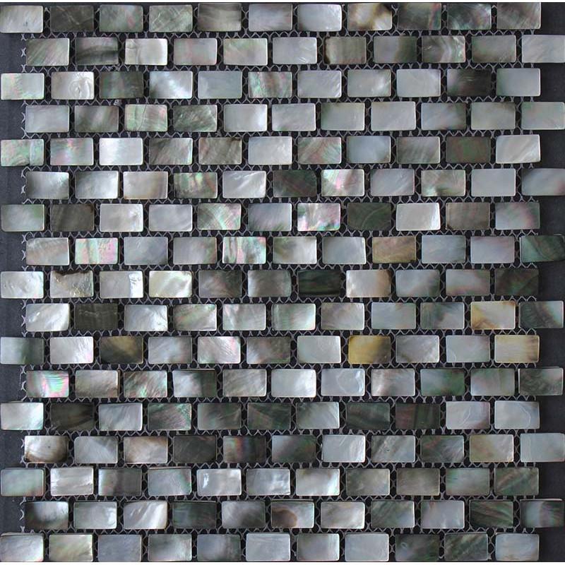 Black Shell Subway Tile White Iridescent Seashell Mosaic Deep Water Mother Of Pearl Backsplash Tiles