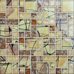 Brown Glass Mosaic Bathroom Wall Tiles Glossy Crackled Crystal Kitchen Backsplash Tile