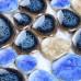 Blue / Brown / Khaki Porcelain Pebble Tile Glossy Ceramic Mosaic Floor Bathroom Backsplash Tiles